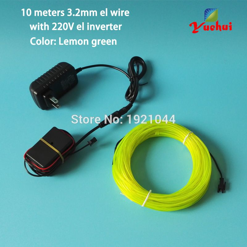 10 Colors Choice 10Meters 3.2mm diameter LED neon wire El Wire With 100V~220V Flashing Inverter With Home Festival Decorations