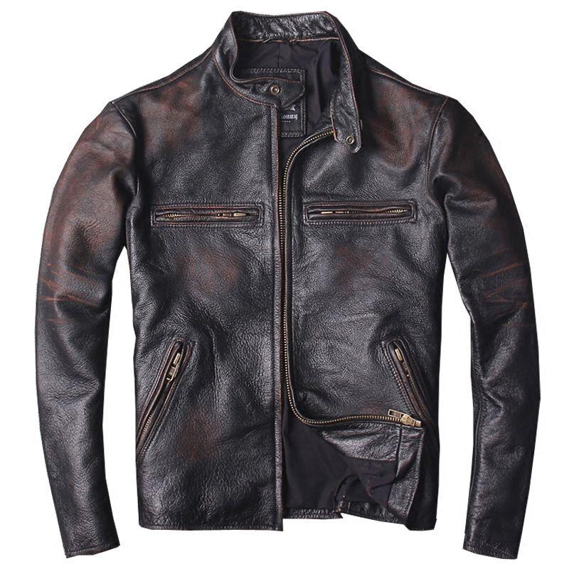 2019 Vintage Männer Slim Fit Biker der Leder Jacke Plus Größe 6XL Echtem Rinds Frühling Russische Kurze Leder Mantel FREIES VERSCHIFFEN