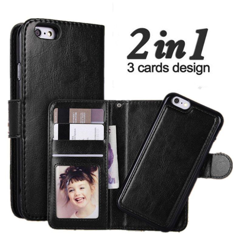 LANCASE Pour iPhone 6 Cas 2 dans 1 Magnétique Amovible En Cuir Flip Couverture Pour iPhone 6 s Plus 8 7 plus 6 6 s 5S SE Cas Portefeuille Coque