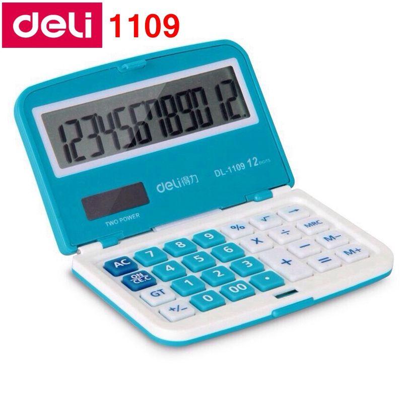 [RedStar] Deli 1109 Портативный мини электронный калькулятор 12 чисел двойной калькулятор мощности включают монету батареи Розничная упаковка