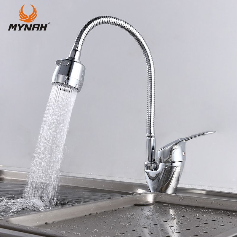 MYNAH Free Shipping Kitchen Faucet Mixer Universal Flexible Cold and Hot Kitchen Tap Single Hole Water Tap torneira cozinha
