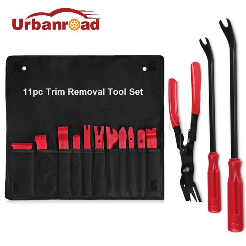 Urbanroad 11pcs Radio Door Clip Panel Trim Removal Tool Kit Set Dash Audio Removal Installer + Plastic Fastener Remover Tool