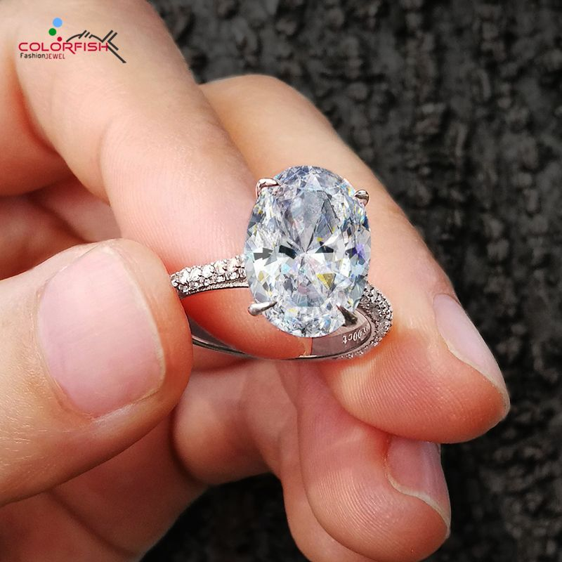 COLORFISH de luxe 5 carats ovale coupe Solitaire bague de fiançailles 925 en argent Sterling anneaux pour les femmes grande pierre femmes bandes de mariage