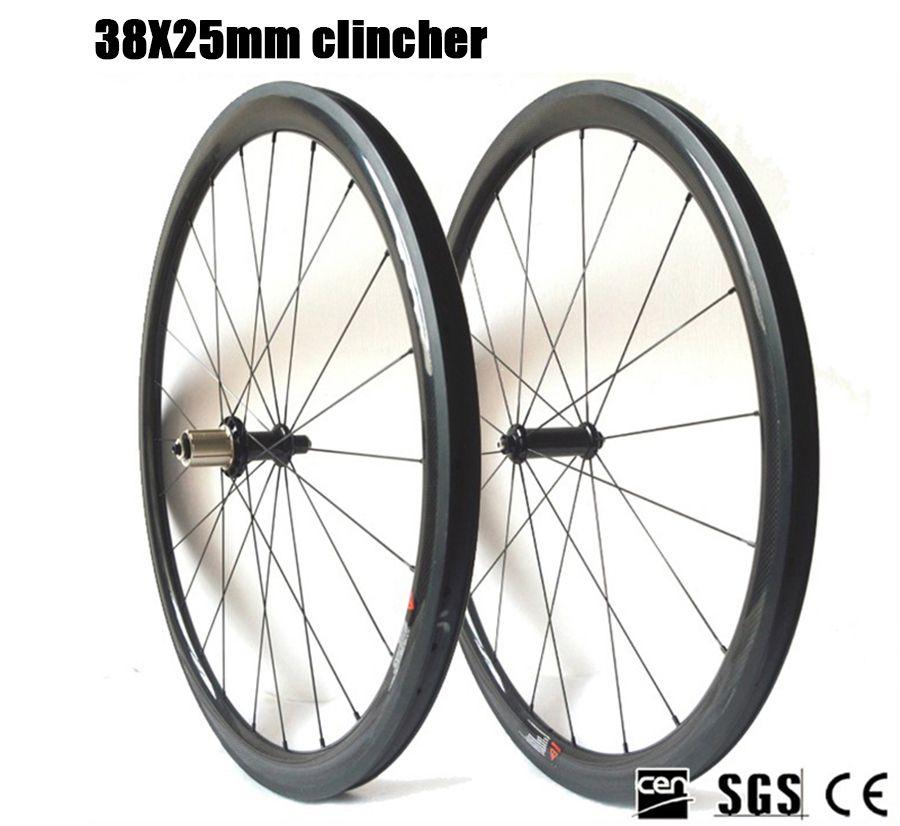 Carbon Fiber Wheelset 700C Road bike R36 Ceramic Bearing Hub 38mm Depth 25 Width clincher tubular bicycle Carbon Wheels