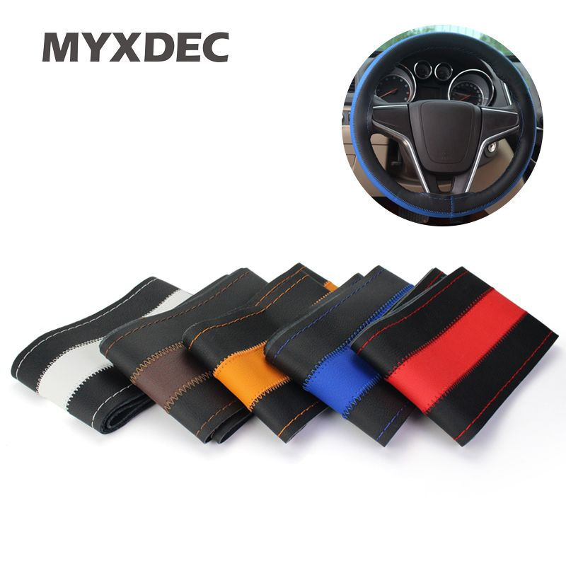Sports Universal Double Color DIY Car Cowhide Genuine Leather Steering Wheel Cover Hole Car Steer Decoration Car Styling
