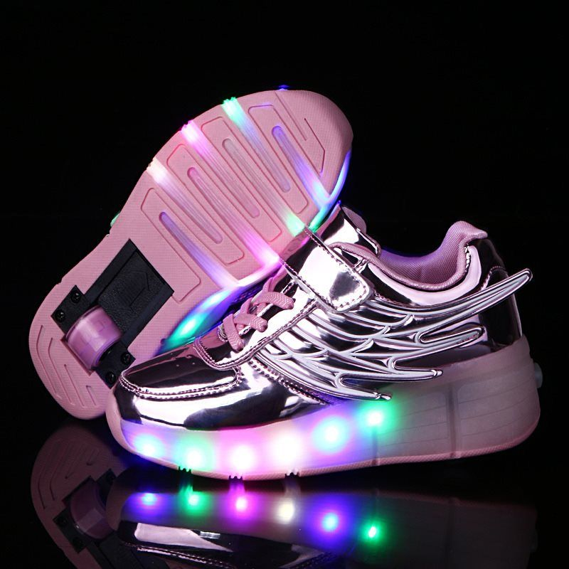 2018 Children Glowing with Wheels Kids Shoes Led light up Shoes for Girls Boys Wing Shoes tenis sneakers rollers skate