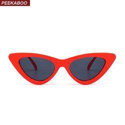 Coucou mignon sexy rétro cat eye lunettes de soleil femmes petit noir blanc 2018 triangle vintage pas cher lunettes de soleil rouge femelle uv400
