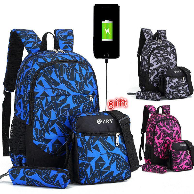 New Boys School Backpack Set for Teenager Children Camouflage Travel Knapsack Kids Schoolbag Girls School Bags Packsack Mochila