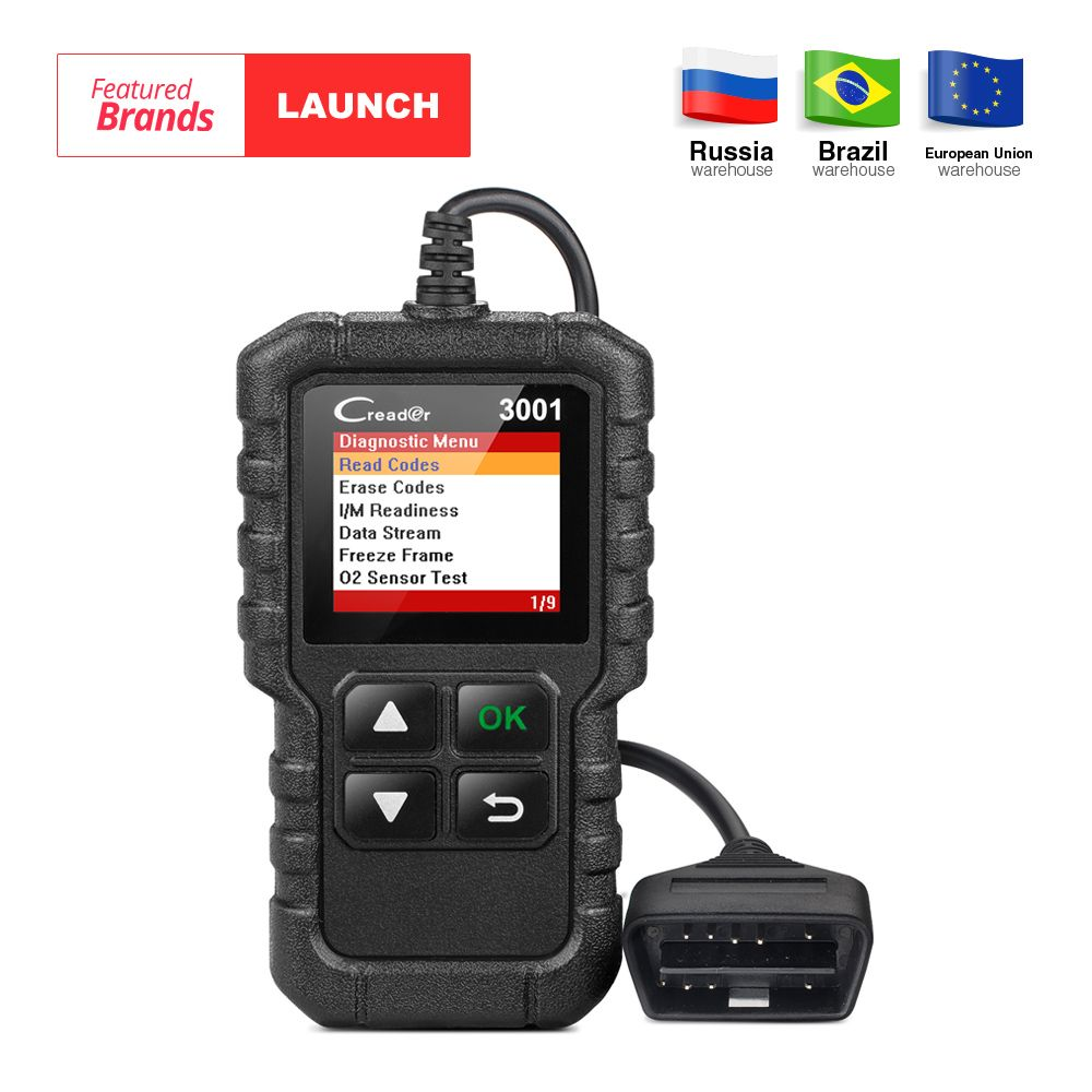 LAUNCH X431 Creader 3001 Full OBD2 OBDII Code Reader Scan tools OBD 2 CR3001 Car Diagnostic tool PK AD310 NL100 OM123 Scanner