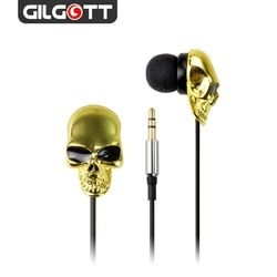 3.5mm Stereo Wired Gold Skeleton In Ear Earphones For Mobile Phone MP3 MP4 PC Computer