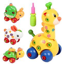 Teka-teki Hewan Mainan Anak-anak Kartun Animal Puzzle Plastik Mainan Anak Bayi Membongkar Assembly Mainan Bayi Hadiah