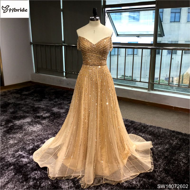 Surmount Made Off the Shoulder Short Sleeves Champagne Long Evening Dress 2017 vestidos de festa vestido longo para casamento