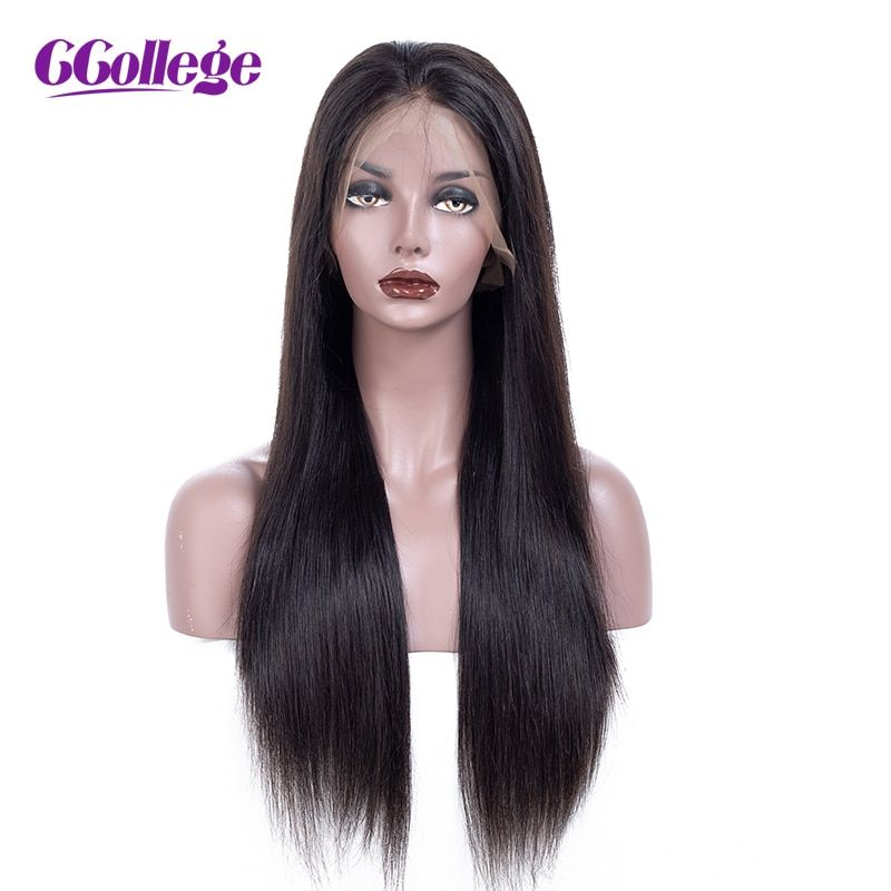 Ccollege Brazilian Lace Front 100% Human Hair Wigs With Baby Hair Long Straight Lace Front Wigs Remy Hair Bleached Knots