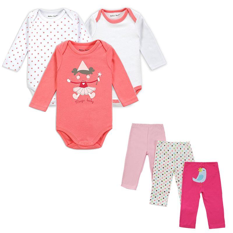 Mère nid marque 6 pièces ensemble bébé fille vêtements ensemble manches longues tenue de bébé printemps automne décontracté 100% coton ensemble barboteuse + pantalon