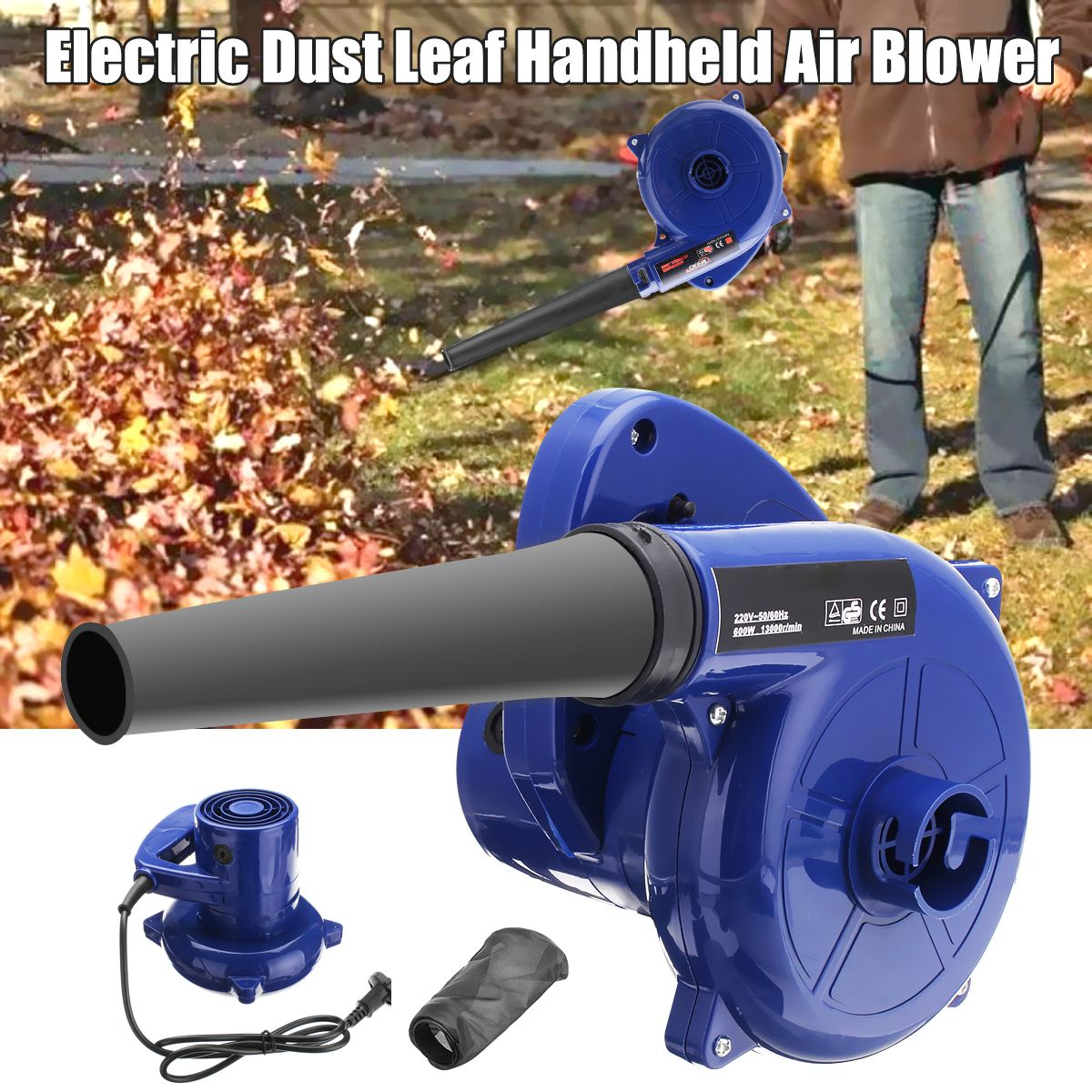 600W 220V Electric Handheld Air Blower Computer Dust Collector Fan Vacuum Cleaner Dust Collecting Leaf Blowing Remover