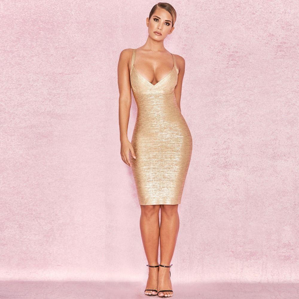 Bandage Dress New Fashion Sexy Women Spring Bandage Dress Sling Gold Backless Party Club Celebration Bandage Dress