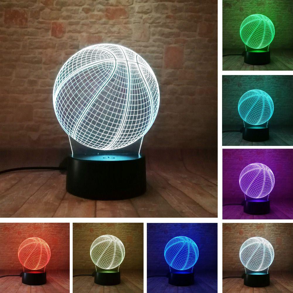 Nouveauté Creative 3D basket-ball LED illusion tactile à distance 7 couleur changement lampe chambre veilleuse meilleur enfant garçons homme cadeaux