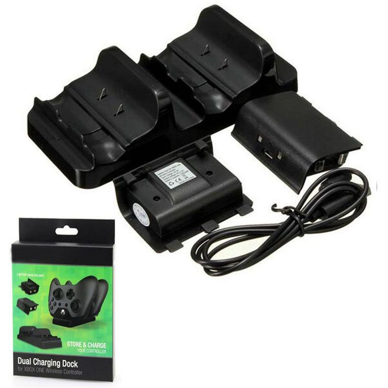 Dual Charging Dock Charger+2 x Rechargeable Battery Pack+USB Charge Cable Power Cord for XBOX ONE Wireless Controller Gamepad