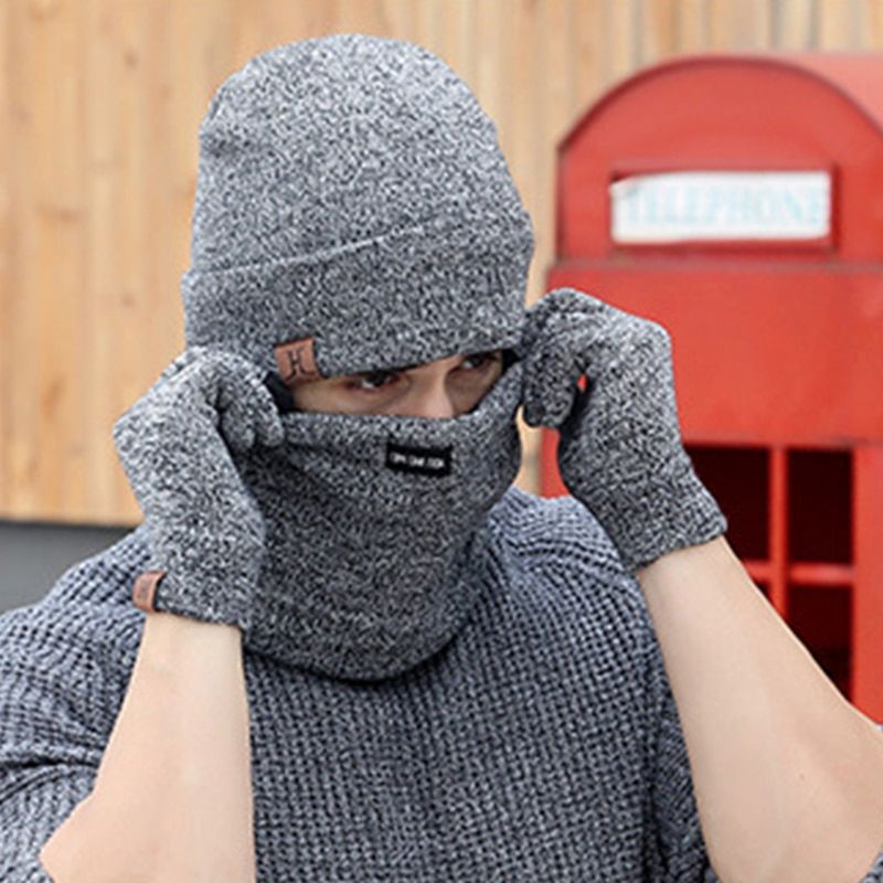 3 PCS Wool Knitted Warm Gloves Hat And Scarf Set For Woman 2017 Winter Caps Beanies Mens Scarves Neck Warmer Face Shield Mask