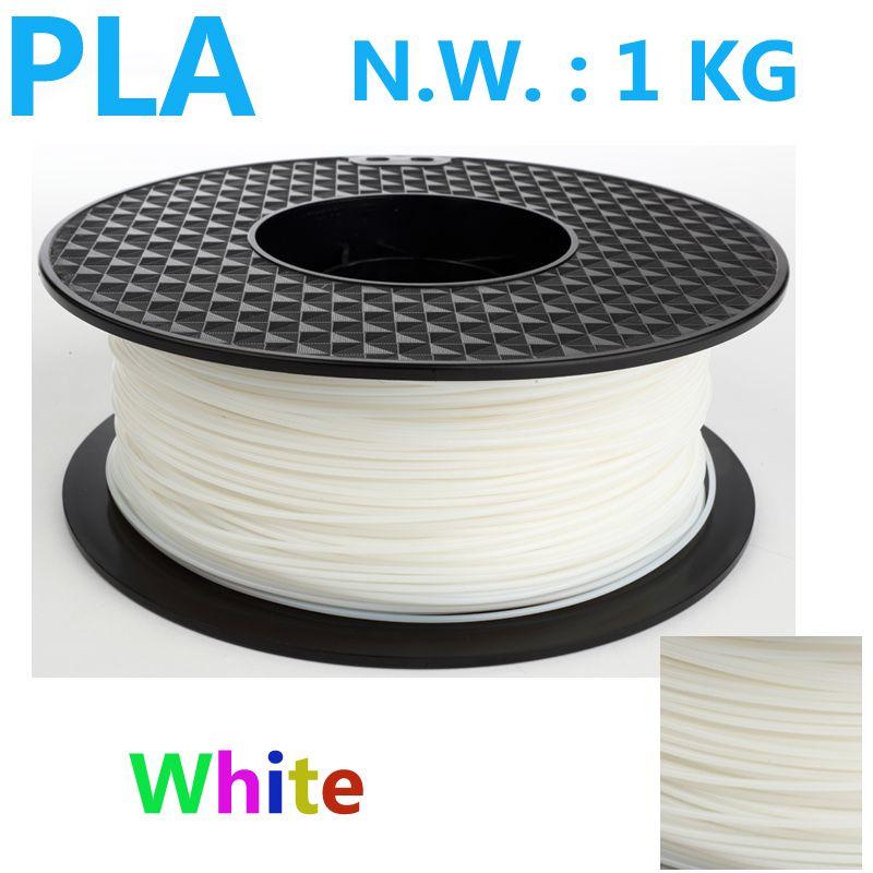 White color pla 1.75 3d printer filament USA natural 3d plastic filament China 3d pen pla filament 1.75mm 1kg impressora 3d pla