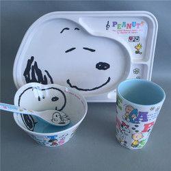 Kartun anak peralatan makan Melamin 4 pcs/set bayi cangkir piring Piring mangkuk Sendok Makan makan Set wadah makanan
