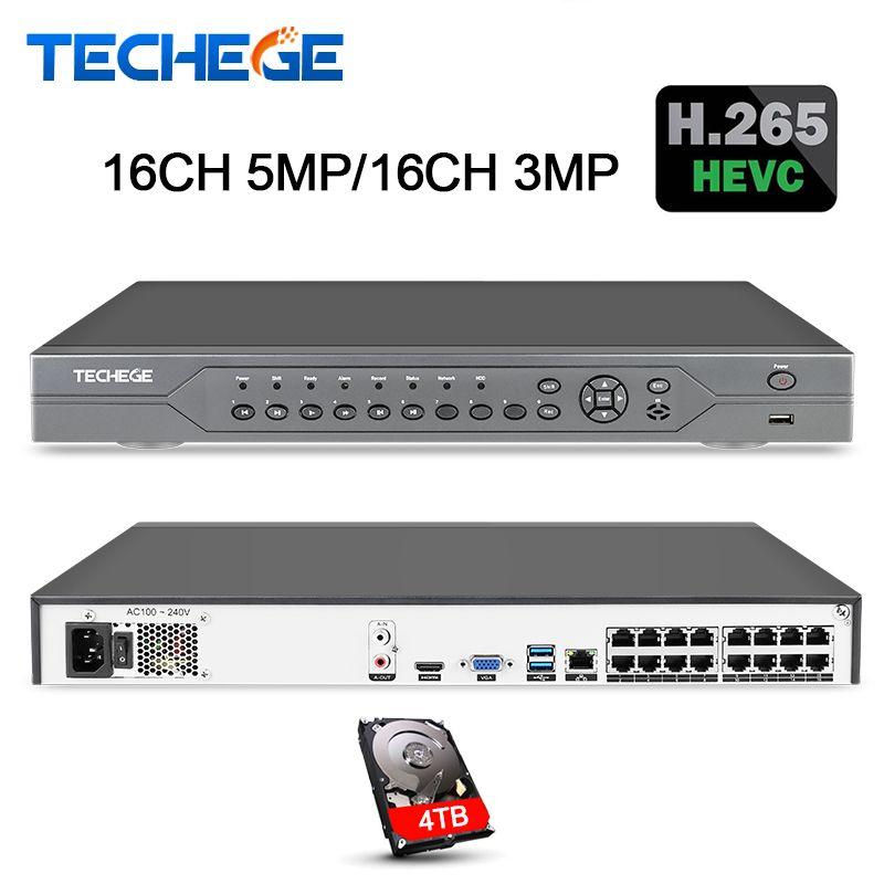 Techege 16CH 5MP POE NVR 48 v Echt PoE NVR 5MP 3MP 4 karat Netzwerk Video Recorder für PoE IP kameras P2P XMeye CCTV System Onvif FTP