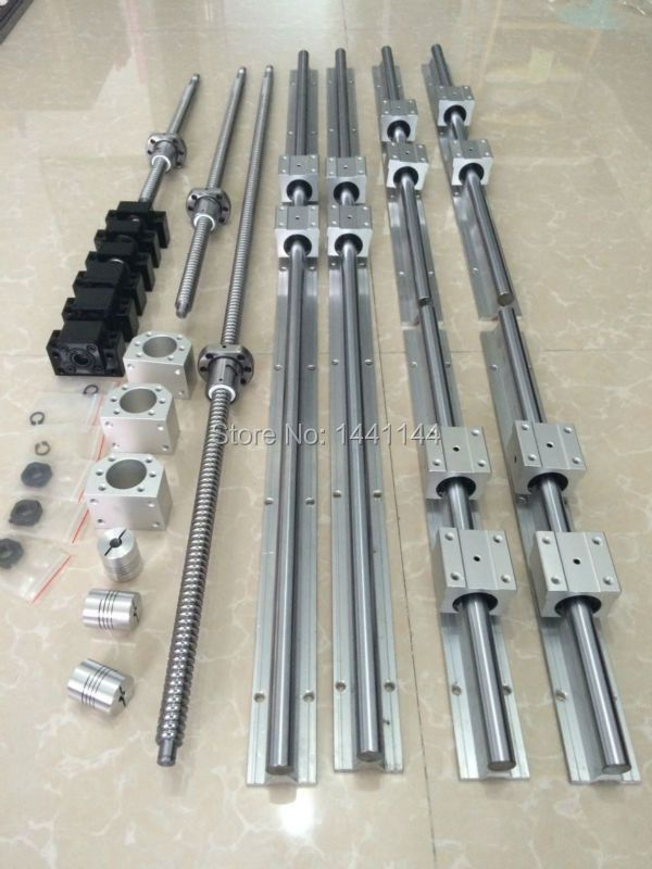 6 sets linear guide rail SBR16 -400/600/1000mm+3 SFU 1605 -450/650/1050mm ballscrew+3 BK12/BK12+3 Nut housing+ 3 Coupler for cnc