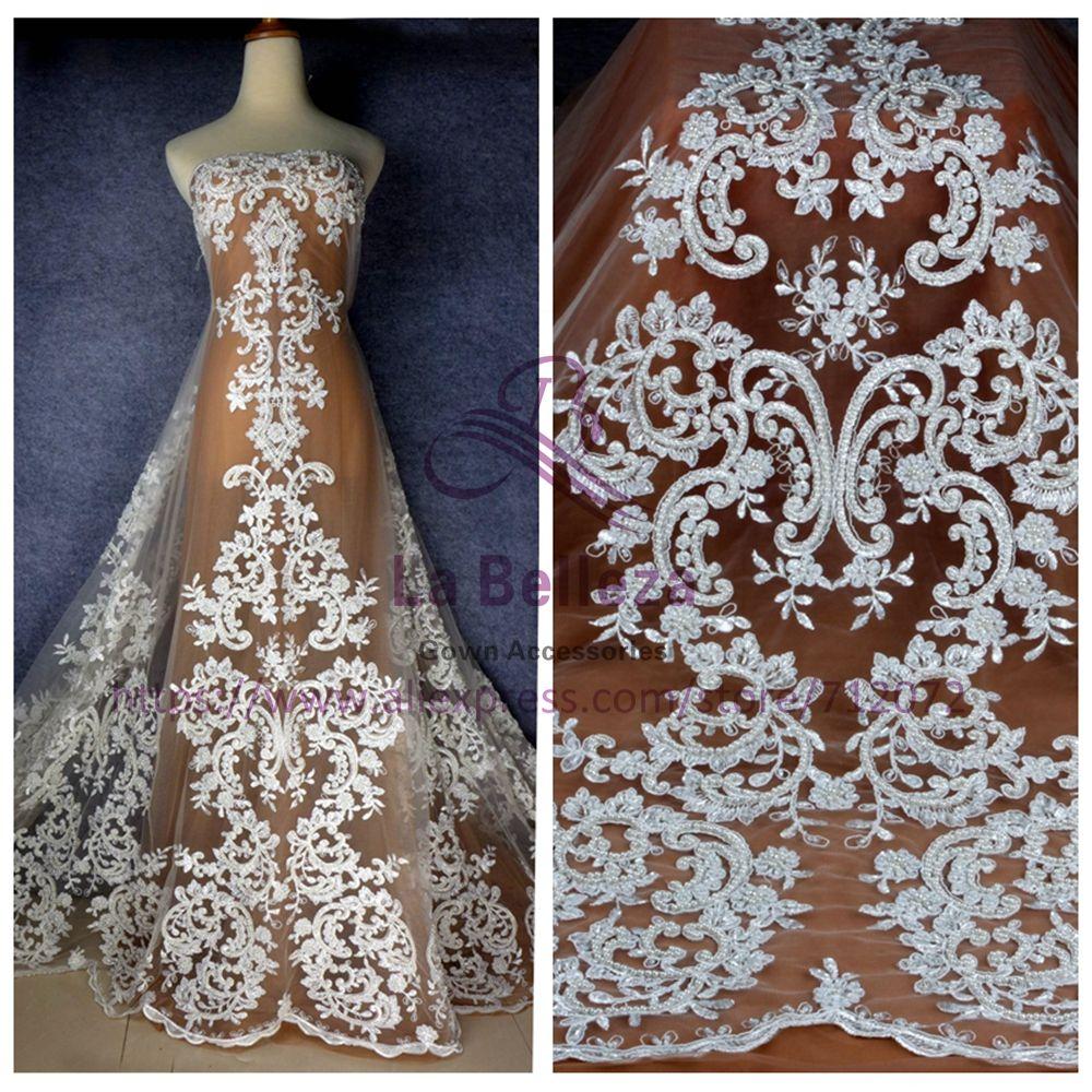 La Belleza Stock nouveau blanc cassé grande robe de mariée perlée dentelle tissu 52 ''largeur