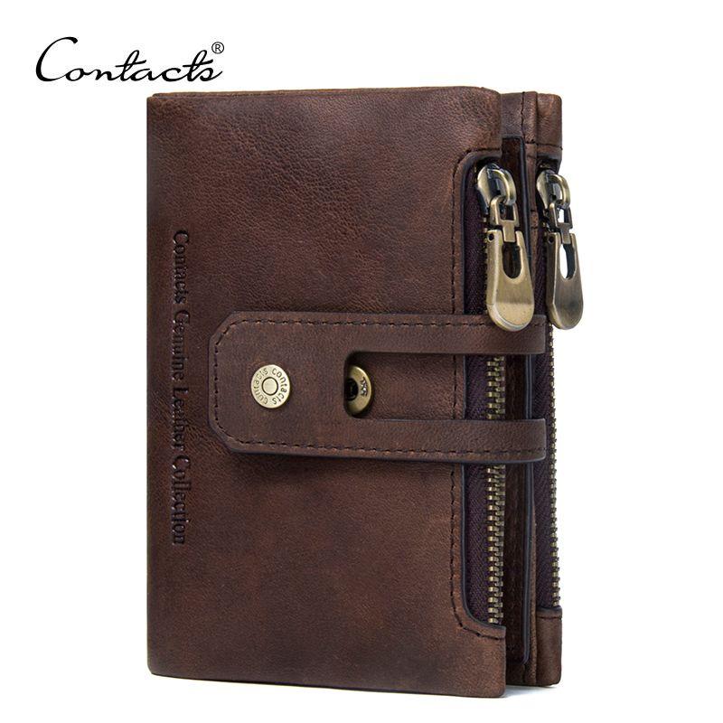 Contact's натуральная кожа мужчины бумажник маленькие мужчины walet молния и HASP мужской portomonee короткие портмоне бренд Perse carteira для RFID