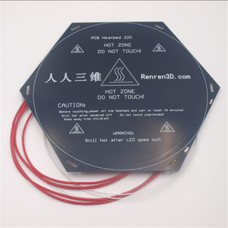 Funssor Delta Rostock Kossel 3D printer 240x270m PCB round heated bed 12V with 100K thermistor insulation cotton back