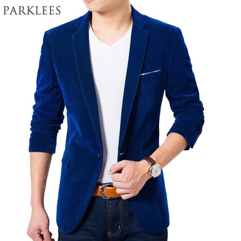 High Quality Royal Blue Velvet Blazer Men 2017 New Autumn Korean Fashion Mens Slim Single Button Blazer Jacket Wedding Blazer