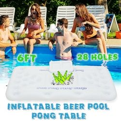2018 New Summer Water Party Fun Air Mattress Ice Bucket Cooler 170cm 6inch 28 Cup Holder Inflatable Beer Pong Table Pool Float
