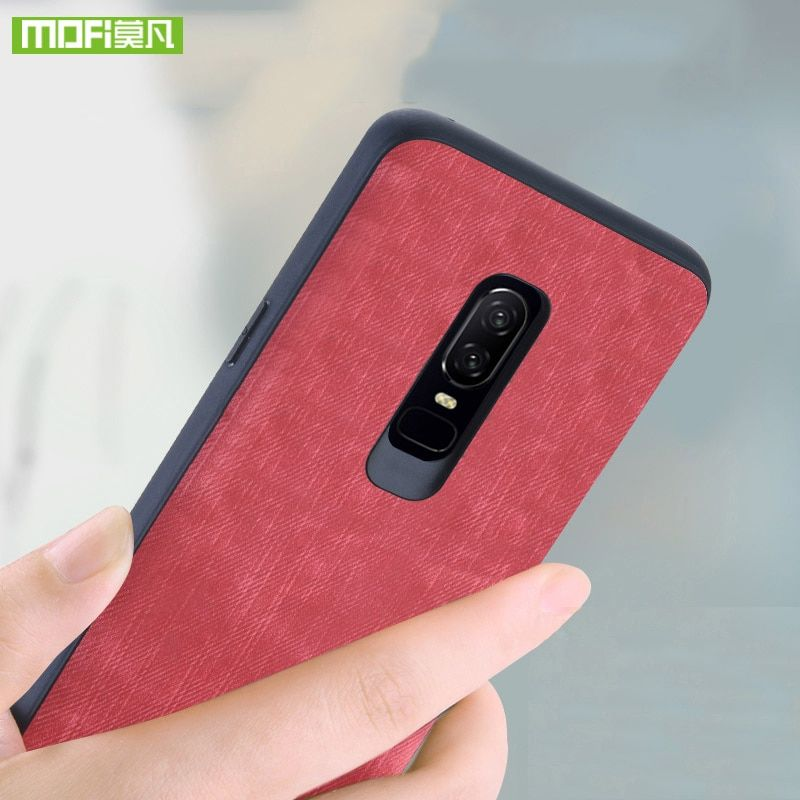 Mofi For oneplus 6 case for oneplus 6 Case cover silicone original fundas For one plus 6 case 360 shockproof jeans leather coque
