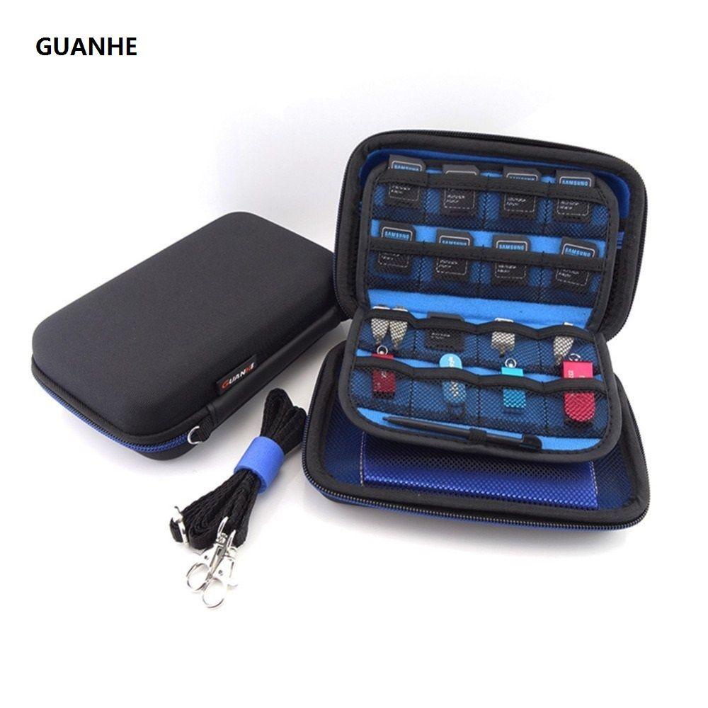 GUANHE 2.5 pouce SSD HDD Écouteurs Câble de Données USB Flash Drive voyage Cas Numérique Sac Nom carte sac Pour Nintendo New 3DS XL/3DS