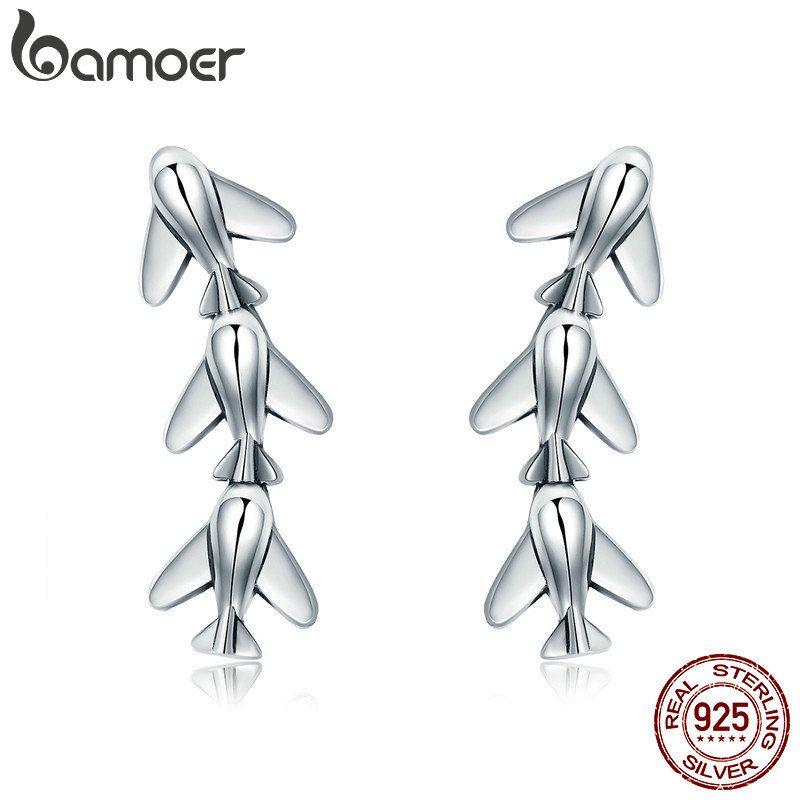 BAMOER Mode Neue 100% 925 Sterling Silber Stapelbar Flugzeug Drop Ohrringe für Frauen Sterling Silber Schmuck Brincos SCE325