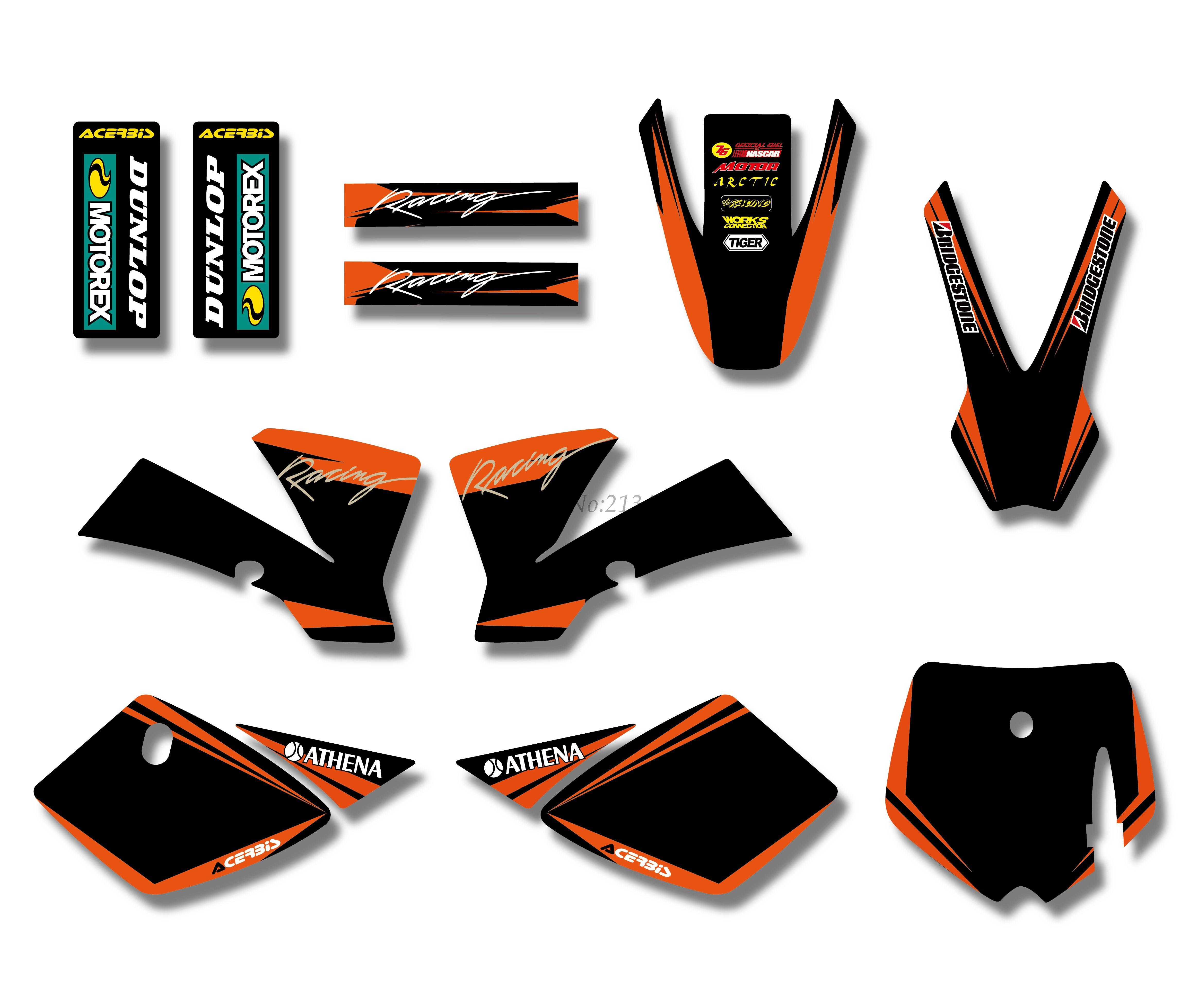 Новый стиль КОМАНДА ГРАФИКА и фоны деколи Наборы для KTM SX 50cc 50 для ktm50 велосипед ямы (оранжевый/ черный)