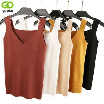 GOPLUS 2019 Sommer Strick Crop Top Tank tops Frauen Plus größe Ärmellose Sexy V-ausschnitt Weste Damen Casual Streetwear Camis weibliche