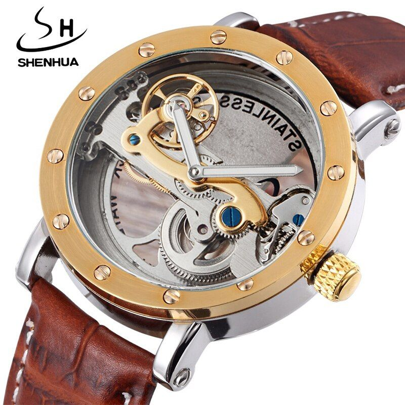 Antique Tourbillon Luxury Men's Automatic Watches Transparent Mechanical WristWatch relogios masculino Male Leather Strap New