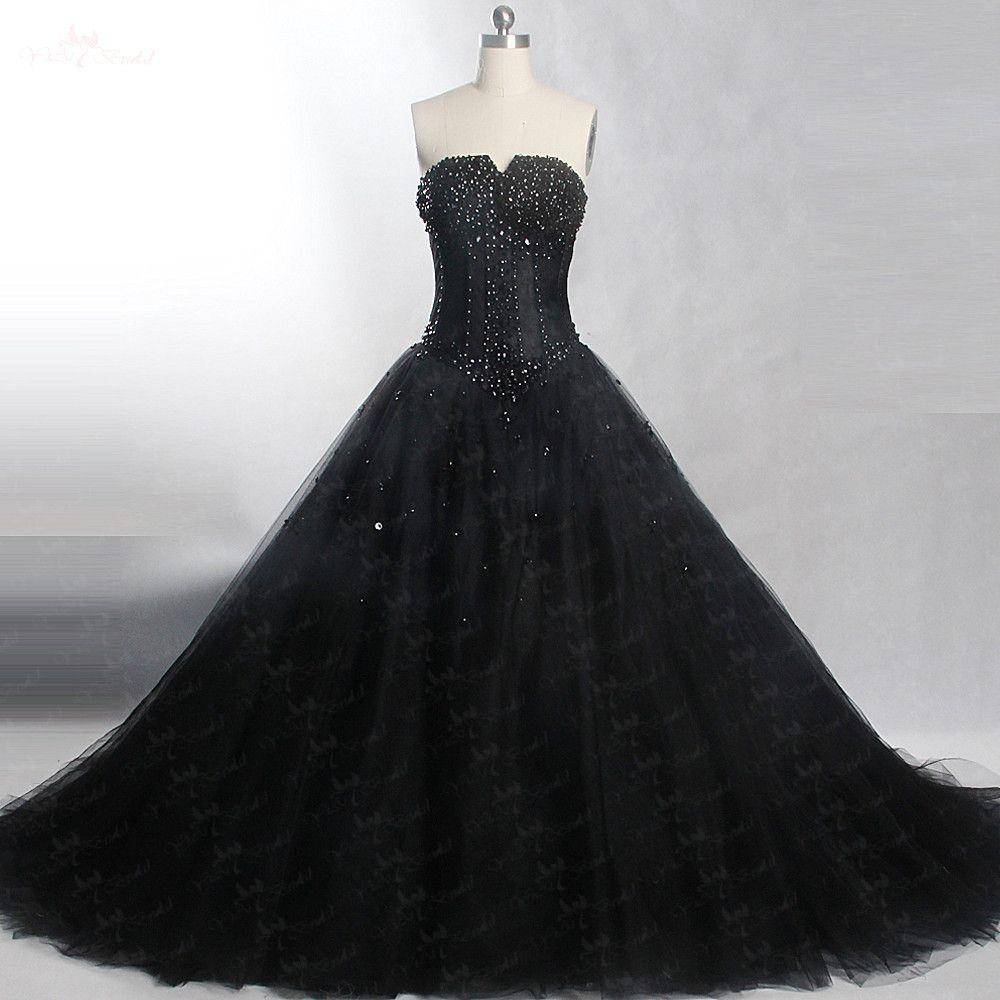 RSW421 Beading Crystals Black Wedding Dress