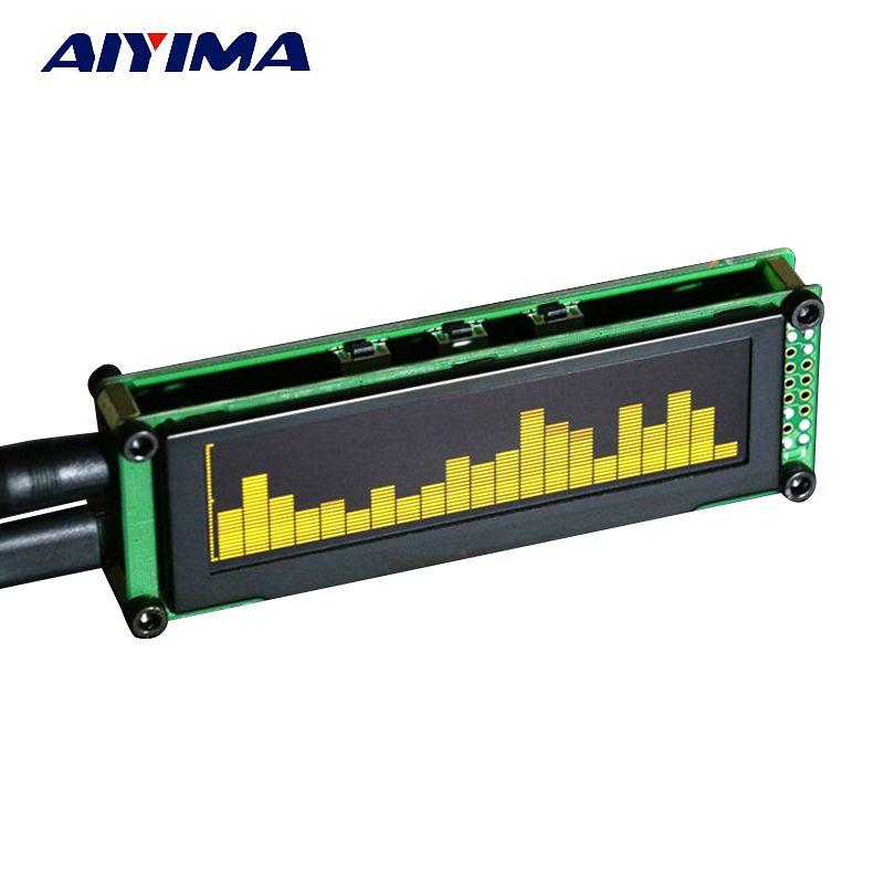 AIYIMA OLED musique Audio spectre indicateur UV mètre bureau MP3 PC amplificateur vitesse réglable AGC Mode 15 niveau
