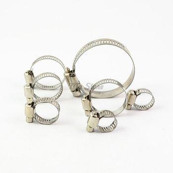 10 pcs/lot Haute Qualité À Vis sans fin collier de Serrage 304 Tuyau Cercle D'acier Inoxydable avec Pince pour Tuyaux Clip