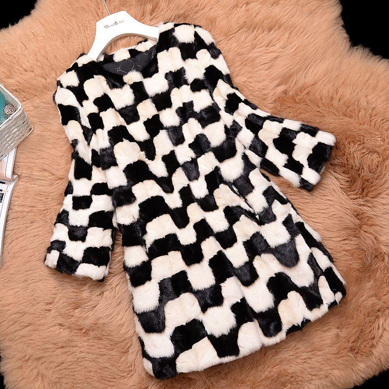 Schwarz und Weiß Farbe Kontrast Natur Nerz Mäntel Oberbekleidung Frauen O neck 3/4 Hülse Echtpelz Jacken Warme Winter Pelzjacke