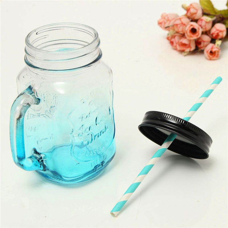 YKPuii 1PC 500ML 4 Style Jar Color Changing Glass Cup With Paper Straw Fruit Icecream Infusion Clear Gradients