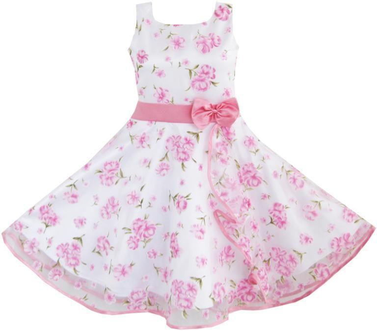 Sunny Fashion Robe Fille 3 Couches Rose Fleur Vague Reconstitution historique Mariage Des gamins Vêtements