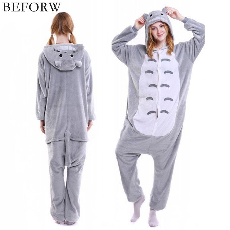 BEFORW Flannel Pajamas Cute Animal Onesie Unicornio Panda Bear Kigurumi Totoro Cosplay Pajamas Set Fashion Adult Sleepwear Suit