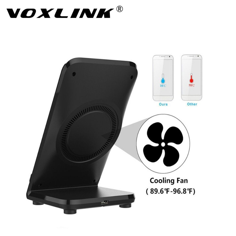 VOXLINK Wireless Charging Stand Holder Pad Wireless Fast Charger 10W QI With Cooling Fan For Samsung Galaxy S8 S8 Plus s7 s7edge