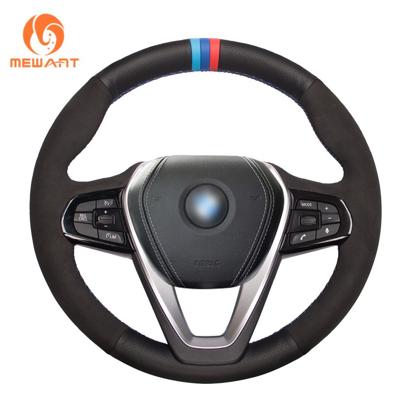 MEWANT Black Genuine Leather Suede Car Steering Wheel Cover for BMW G30 530i 540i 520d 530e 2016-2018 G32 GT 630i 630d 2017-2018