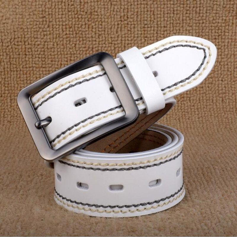 2017 Pin Buckle Genuine Leather Men Jeans Belt Luxury Male Business Belts Waistband Black White Coffee Quality Guarantee ZLB047