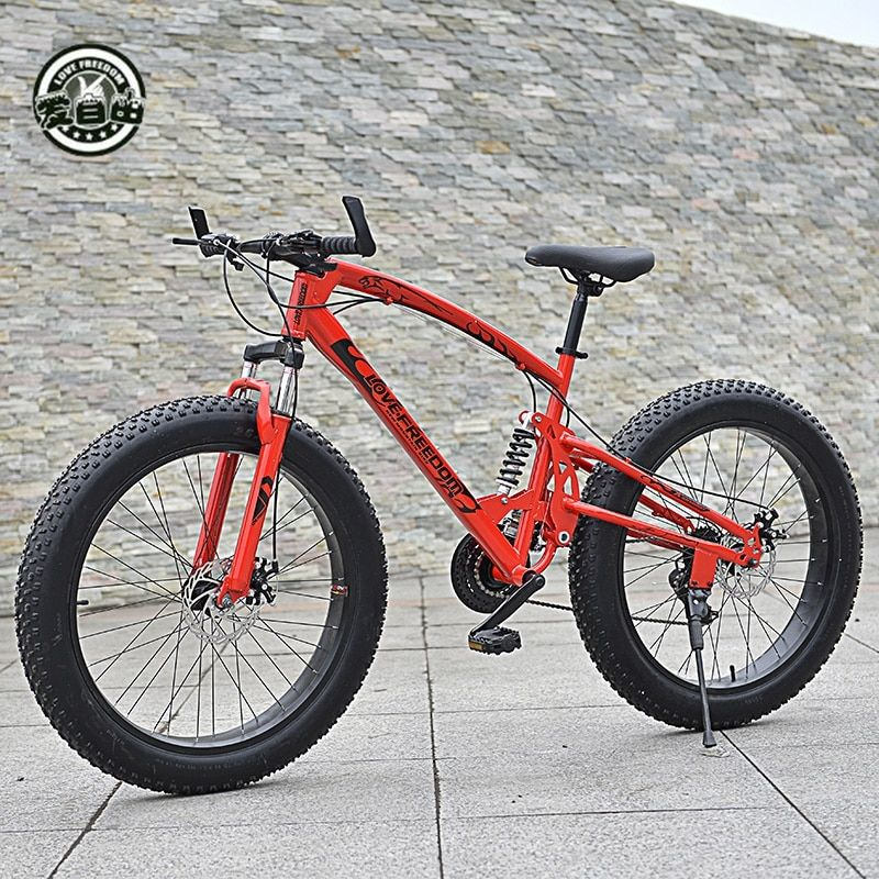 Love Freedom High Quality Bicycle 7/21 / 24 /27 speed Mountain Bike 26 Inch 4.0 fat bike Front and rear shock absorption bicycle