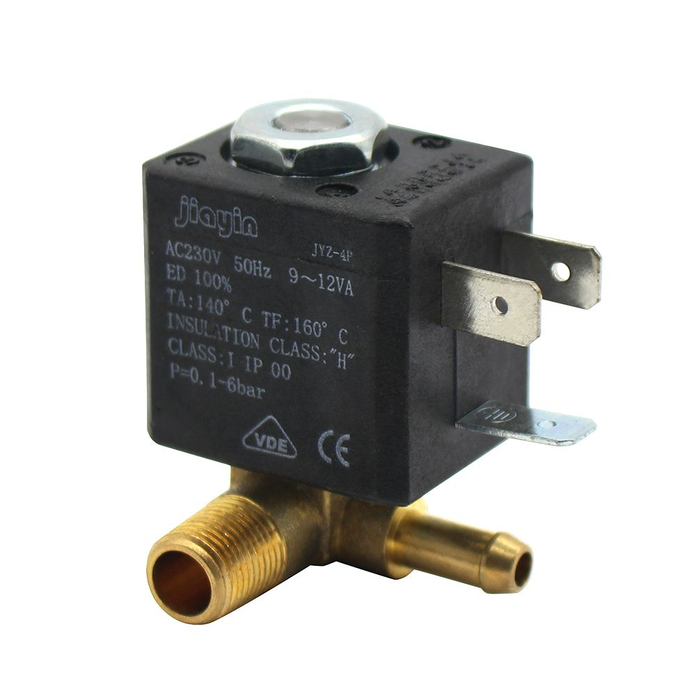 JYZ-4P Normally Closed Cannula 3mm N/C 2/2 Way AC 230V G1/8' Brass Steam Air Generator Water Solenoid Valve Coffee Makers